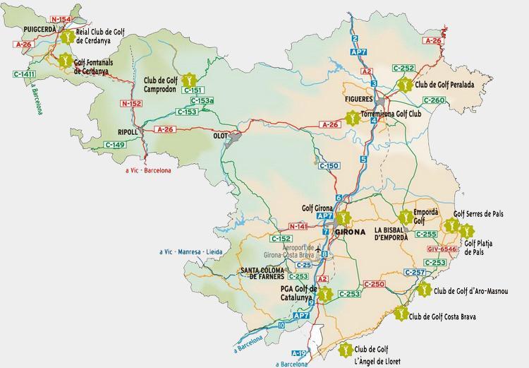 Karte Costa Brava Spanien.Golfplatze In Der Provinz Girona Costa Brava