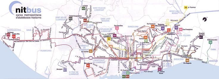 Das Netz der Linienbusse von Barcelona