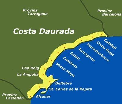 Costa Brava Costa Dorada Karte.Die Costa Daurada Die Goldenen Kuste Von Katalonien